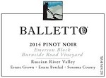 BALLETTO WINERY BURNSIDE ROAD PINOT NOIR 2014